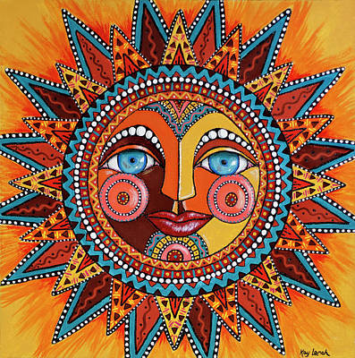 Earth Tones Painting - Smiling Sun by Kay Larch