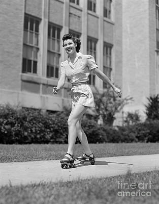 Smiling Teen Girl On Roller Skates Art Print by H. Armstrong Roberts/ClassicStock