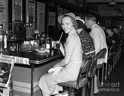 Smiling Woman At Diner, C.1940s Art Print by H. Armstrong Roberts/ClassicStock