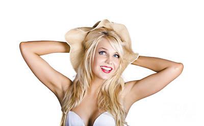 Smiling Woman In Floppy Hat Art Print