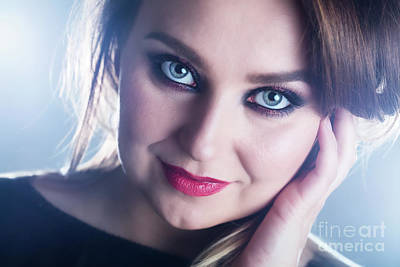 Photograph - Smiling Woman Wearing Glamour Makeup. by Michal Bednarek