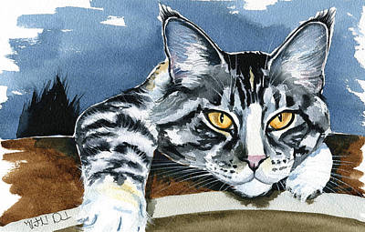 Painting - Smilla - Maine Coon Cat Painting by Dora Hathazi Mendes