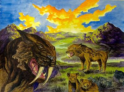 Painting - Smilodon by Gabriel Cajina