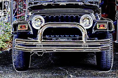 Mixed Media - Smith County Jeep Art Neon by Lesa Fine