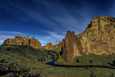 Photograph - Smith Rock Lit By Super Full Moon by Ken Aaron