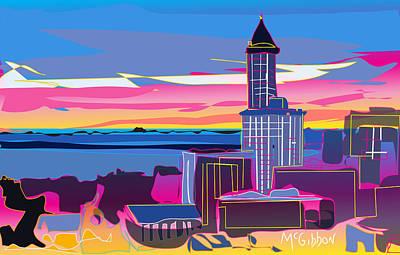 Digital Art - Smith Tower by Dan McGibbon