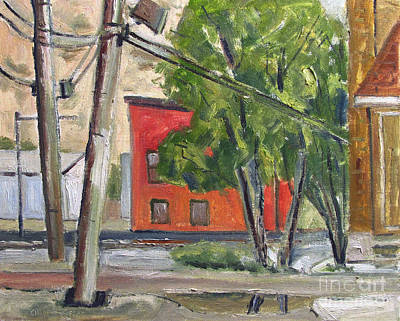 Mood Painting - Smitty Mcmusselman's Pub And Grub Across The River Plein Air Framed by Charlie Spear