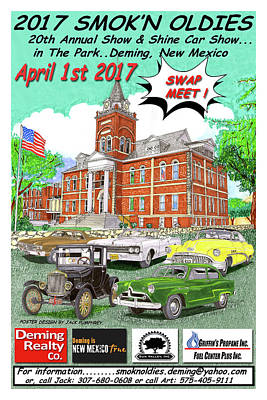 Painting - Smok In Oldies Car Show Poster by Jack Pumphrey