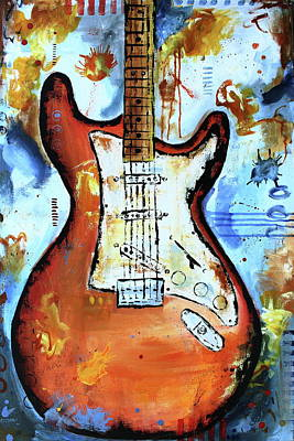 Guitar Painting - Smoke And Cognac by Kayla Mallen