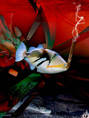 Mixed Media - Smoke Break Triggerfish by Marvin Blaine