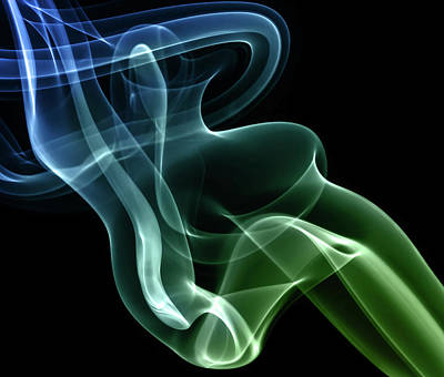 Photograph - Smoke Compositions In Blue And Green by Jaroslaw Blaminsky