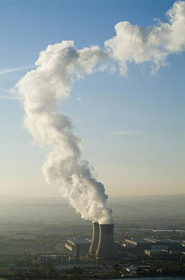 Smoke Emitting From Cooling Towers Of Tricastin Nuclear Power Plant Art Print by Sami Sarkis