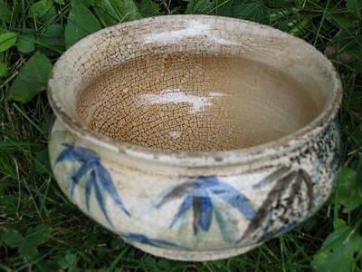 Smoke-fired Bamboo Leaves Bowl Art Print by Julia Van Dine