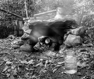 Photograph - Smoke From Moonshine Still In Black And White by Greg Mimbs
