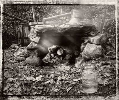 Photograph - Smoke From Moonshine Still In Black And White With Border by Greg Mimbs