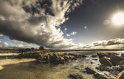 Grey Clouds Photograph - Smoke Like Clouds On The Bay Of Fires by Jorgo Photography - Wall Art Gallery