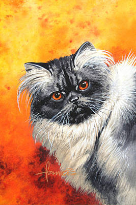 Black And White Cat Painting - Smoke Longhair by John Francis