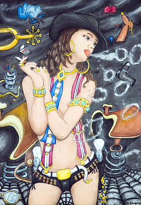 smoke N O's Art Print by Eddie Sargent