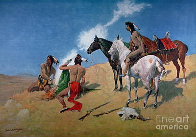 Bare-chested Painting - Smoke Signals by Frederic Remington