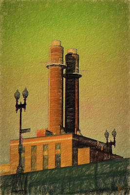 Drawing - Smoke Stacks Near Boston's Back Bay Area by Thomas Logan