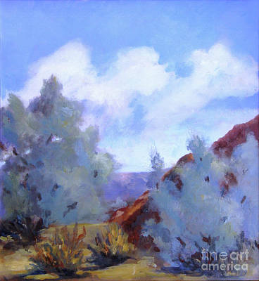 Distant Mountains Painting - Smoke Trees In Bloom In Palm Desert by Maria Hunt