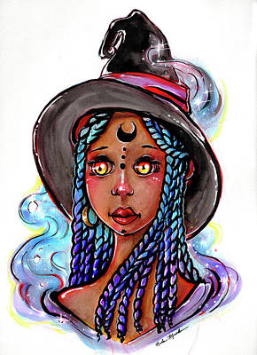Mixed Media - Smoke Witch by Nada Meeks