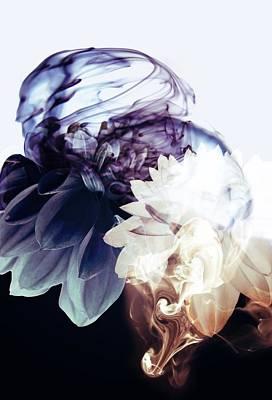 Blue Background Digital Art - Smoke Without Fire Iv by Varpu Kronholm