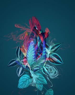 Teal Flowers Painting - Smoke Without Fire Vi by Varpu Kronholm