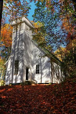 Photograph - Smokemont Baptist Church In The Great Smoky Mountain National Park During Fall by Carol Montoya