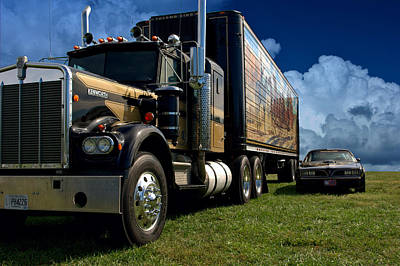 Photograph - Smokey And The Bandit Tribute 1973 Kenworth W900 Black And Gold Semi Truck And The Bandit Transam by Tim McCullough