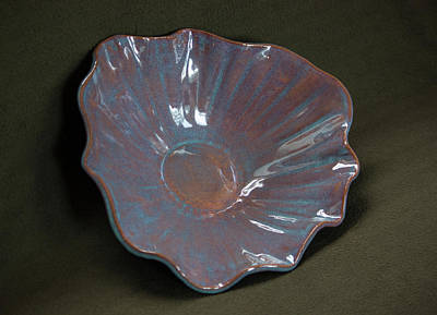 Ceramic Art - Smokey Merlot And Textured Turquoise Scalloped Bowl by Suzanne Gaff