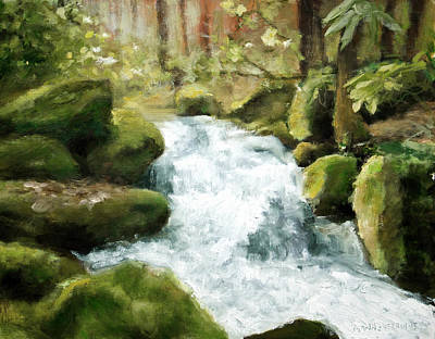 Painting - Smokey Mountain Waterfall by Melissa Herrin