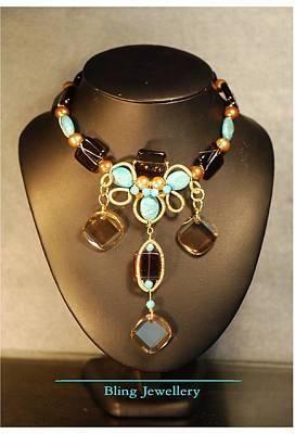 Smokey Quartz Jewelry - Smokey Quartz And Turquoise Wire Wrapped Necklace by Janine Antulov