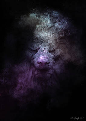 Photograph - Smokey Stone Lion by Ron Grafe
