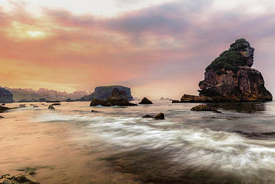 Photograph - Smokey Sunise On Oregon Coast by Allen Biedrzycki