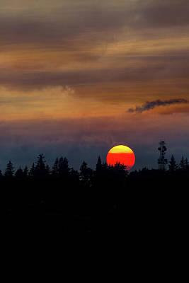 Wall Art - Photograph - Smokey Sunset Sky Over Mount Scott by David Gn