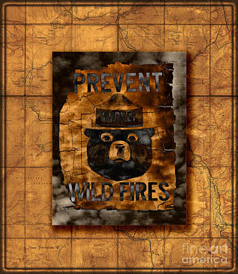 Photograph - Smokey The Bear Prevent Wild Fires On Vintage Yellowstone Map  by John Stephens