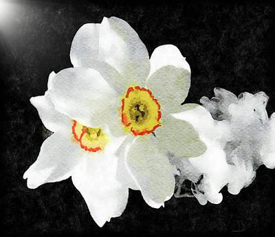 Mixed Media - Smokey White Floral by Dennis Buckman