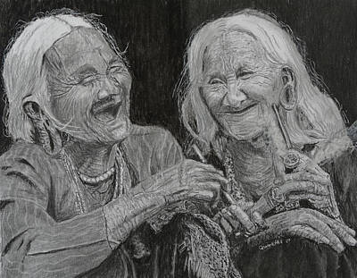Drawing - Old Friends, Smokin' And Jokin' 1 by Quwatha Valentine