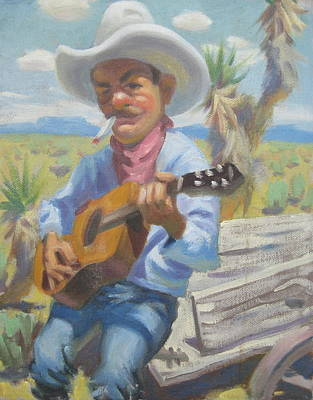 Wagon Painting - Smokin Guitar Man by Texas Tim Webb