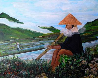 Rice Paddy Painting - Smokin' In The Rice Paddy by Marvin Pike