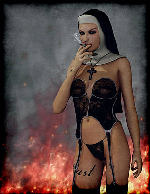 Painting - Smokin Nun by Maynard Ellis