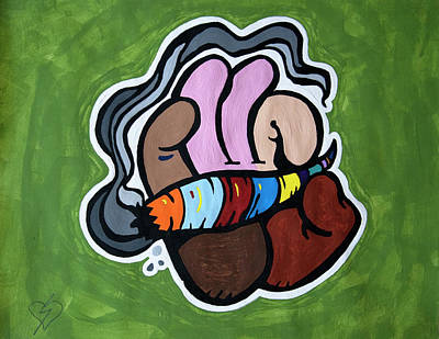 420 Painting - Smoking A Blunt by Stormm Bradshaw
