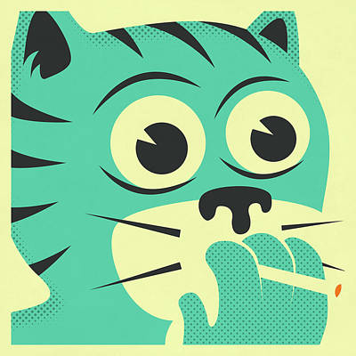 Smoking Cat Art Print