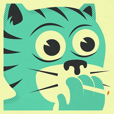 Cartoon Digital Art - Smoking Cat by Jazzberry Blue