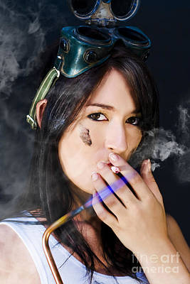 Smoking Hot Mechanic Art Print