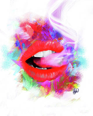 Smoking Lips Art Print