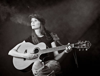 Musicians Royalty Free Images - Smoking Musician Royalty-Free Image by Rikk Flohr