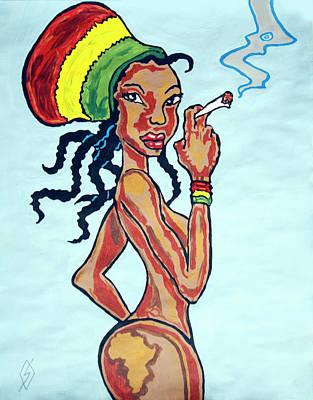 Painting - Smoking Rasta Woman by Stormm Bradshaw