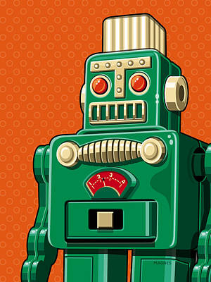 Smoking Robot Art Print by Ron Magnes